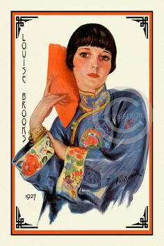 Art Deco Louise Brooks, Hollywood Icon, Silent Screen, Flapper, Bob Haircut, Oriental Jacket, 1927