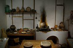Reconstrucció d'una cuina romana, Museum of London    Roman kitchen, reconstruction, Museum of London.