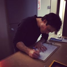 """571.1k Likes, 4,970 Comments - @iansomerhalder on Instagram: """"Damon Salvatore signing his last sign out sheet like today is YOUR LAST DAY TO ENTER TO COME HANG…"""""""