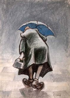 Man with umbrella [The Lost World of NORMAN CORNISH - Northumbria University, Newcastle UK]