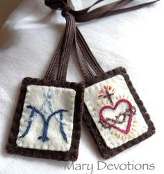 Embroidered scapular by MaryDevotions on Etsy