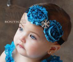 SALE Teal black Baby headband vintage headband by SAVANIboutique, $8.99