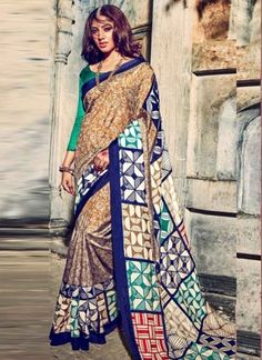 Blooming Multi Printed Grey Designer Silk Sarees http://www.angelnx.com/