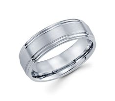 14K White Gold with Two High Polished Grooves along Edges 7mm Unique Wedding Band for Men