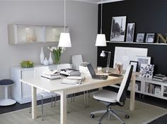 Modern office design with Phillipe Stark Louis Ghost Chair with