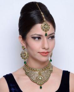 #Exclusivelyin, #IndianEthnicWear, #IndianWear, #Fashion, Heavy Choker Necklace Set Embellished with Crystal Stones