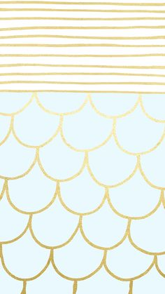 Turquoise with Gold Scallops Wallpaper by @linesacross.jpg - Box