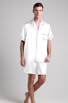 Natural and smooth white silk pajama suit for men are online on sale with custom plus size. $109 #pajamas #silk #lilysilk