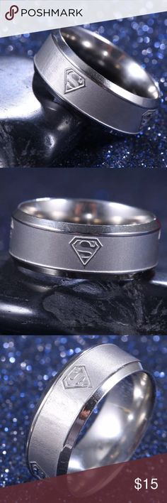Sizes 9, 12 & 14 SUPERMAN Steel Silver Ring! SUPERMAN Stainless Steel Silver Ring. Sizes 9 1/4, 12 1/2 & 14 1/2. The last 2 pictures are of the largest & smallest rings I have on hand. Please NOTE that the Superman Emblem is not obvious & does Not stand out. It is more noticeable & easier to see in the light. 🌹 I also have Sizes  5 1/2, 6 1/2, 7 3/4 available in my Closet, so don't forget to look. 🌹See Pictures for Details & Measurements. Please make sure this will fit before purchasing…