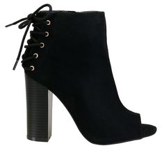 Stash-51S Black Back Lace Up Peep Toe Suede Booties