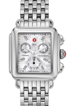 MICHELE 'Deco' Diamond Dial Watch Case, 33mm x 35mm | Nordstrom