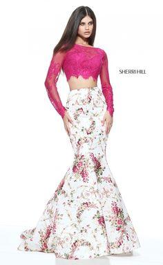 276bab192523 Long Sleeve Plum Ivory Print Sherri Hill 51064 Two Piece Prom Dress