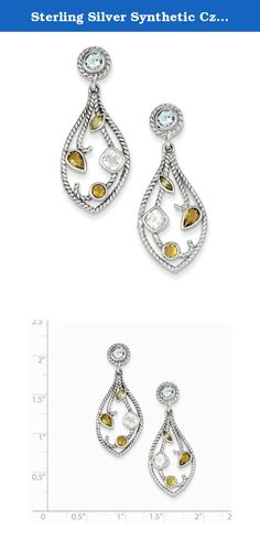 Sterling Silver Synthetic Cz & Multi-color Gemstone Post Dangle Earrings. Look fashionable with these cz & multi-color gemstone post dangle earrings crafted delicately from sterling silver. This versatile earrings set makes a great addition to any woman's jewelry collection. Length: 39 Mm Width: 15 Mm Earring Closure: Post & Push Back Average Weight: 5.45 Gm Attributes: * Sterling Silver * Blue Topaz * Citrine * Cz * Peridot * Textured * Rhodium Plated Metal: Sterling Silver Country Of...