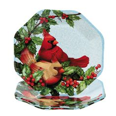 Cardinal & Holly Dinner Plates - TerrysVillage.com