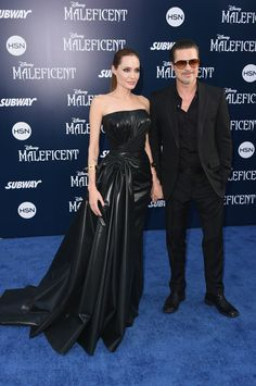 Pin for Later: Angelina Jolie and Brad Pitt Make Maleficent a Family Affair  Brad and Angie walked the carpet together.