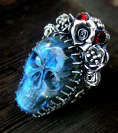 La Reina.....large cocktail ring featuring an amazing carved Labradorite skull....by Elizabeth Payne for Jewelry Arts Studio