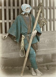 Unusual….does anyone know what job this fellow has?  Hand-colored photo, about 1870's, Japan, by photographer Felice Beato.