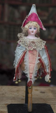 "13"" (33 cm.) Antique German Party Marotte Doll with Bisque Head, from respectfulbear on Ruby Lane"