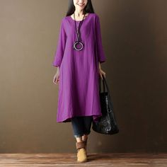 Bilderesultat for purple dress Purple Dress Casual, Vintage Dresses, Vintage Outfits, Neutral Outfit, Types Of Collars, Historical Clothing, Fit S, High Fashion, Shirt Dress
