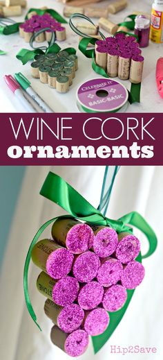 DIY Wine Cork Grape Christmas Ornaments is part of Cork crafts Grapes - Here's how to repurpose wine corks into easy DIY Christmas ornaments for the holidays! Wine Craft, Wine Cork Crafts, Wine Bottle Crafts, Wine Bottles, Mason Jar Crafts, Mason Jars, Christmas Wine, Diy Christmas Gifts, Christmas Ornaments