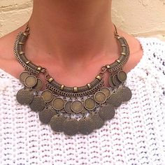 SOLITUDE tribal inspired bib necklace in antique gold