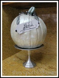 Easy pedestal pumpkin for Thanksgiving. - The V Spot