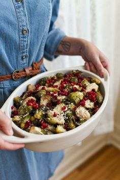 Citrus and pomegranate Brussels sprouts. Next time you're looking to whip something up for a group dinner, try baking veggies. It's easy and delicious, and you can cook large quantities at a time.