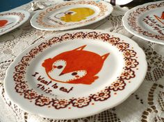 so sweet !  Hand painted illustration fox on plate  I want to par RozennBothuon, $37.00