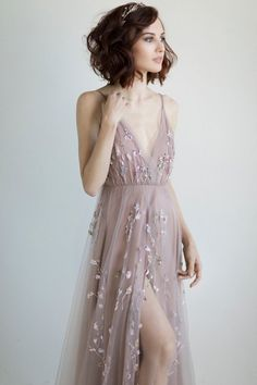 Boho wedding dress / Pale blush purple bridal gown - Pale blush purple wedding dress / tulle wedding dress The Effective Pictures We Offer You About wed - Purple Wedding Gown, Wedding Dress Black, Colored Wedding Dresses, Tulle Wedding, Wedding Blush, Wedding Dress Colors, Wedding Hair, Bridal Hair, Lavender Wedding Dress