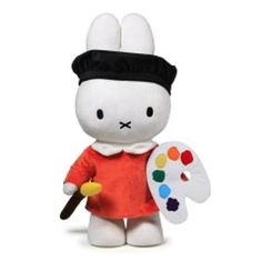 Miffy - These Miffy plush toys feature a design exclusive to the Rijksmuseum. An authentic Miffy as a painter! Has she painted the 'Night Watch' maybe? Miffy wears a dress inspired on the Delftware collection in the Rijksmuseum. Miffy as a farmer with a tulip from Marrel's 'Book of Tulips'? Miffy wears a costume very similar to one of the Dutch admiral Michiel de Ruyter from the Golden Age.
