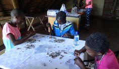 Chobe Safari Lodge hosting a beading workshop -- Making beads out of newspaper