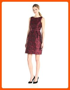 Anne Klein Women's Jacquard Boat Neck Fit and Flare Dress with Belt, Cordoba Red Combo, 6 - All about women (*Amazon Partner-Link)