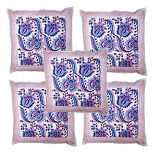 New cotton cushion cover block print cushion cotton cushion covers 5 Pcs set Kantha Stitch, Printed Cushions, Art Deco Fashion, Cushion Covers, Vibrant, Throw Pillows, Prints, Cotton, Handmade