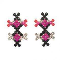 Tropical Stripes Earrings - Criss Cross Purple & Black. #earrings #want #jewelry 9thelm.com