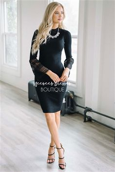 4c2fd627f22 Black Lace Sleeve Sweater Dress Modest Church Dress