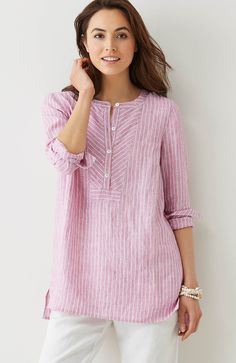 linen mixed-stripes tunic | J.Jill