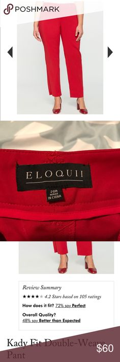 Eloquii Katy Fit Double Weave Pants Great pair of size 20 red pants. Worn once. Washed twice.  I'm in between an 18 and a 20 so they are too big. Eloquii Pants Trousers