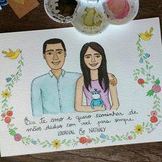 ⚪Lourival & Nathaly⚪Mais um casal ilustrado para o dia dos namorados  #aquarelinhas ⚪ ⚪ ⚪ ⚪ #watercolour #watercolor #aquarelle #aquarela #ilustración #ilustração #illustration #draw #sketch #paint #desenho #dibujo #desenhando #portrait #retrato #casal #love #diadosnamorados #couple #lettering #amor