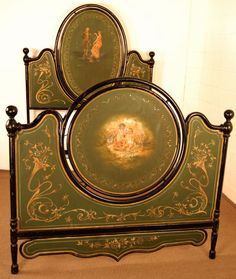 Hand Painted Furniture, Repurposed Furniture, Antique Furniture, Waterfall Furniture, Cast Iron Beds, Southern Living Homes, Antique Beds, Victorian Interiors, Happy House