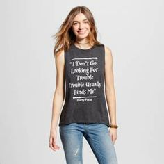 Women's Harry Potter® I Don't Go Looking For Trouble, Trouble Usually Finds Me Graphic Tank - Charcoal Gray (Juniors') : Target