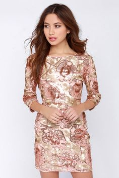 I think I have a thing for patterns and florals this season.  Glam Plan Pink Sequin Dress at Lulus.com!