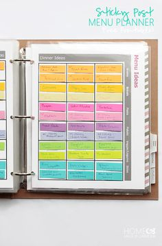 Home Management Binder - Home Made By Carmona Sticky Post Menu Planner - free printables Diy Custom Closet, Reminder Board, Printable Planner, Free Printables, Household Binder, Home Management Binder, Menu Planners, Planner Organization, Office Organization