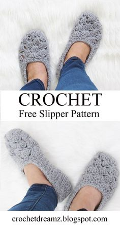 Free Crochet Slipper Pattern, Very easy! - Crochet Dreamz This is a free crochet slipper pattern that is perfect for beginners, a quick crochet project that will make great gifts. Make a pair today. Easy Crochet Slippers, Crochet Gloves, How To Crochet Slippers, Knit And Crochet Now, Knit Slippers Free Pattern, Crochet Boots, Crochet Jacket, Crochet Simple, Quick Crochet Gifts