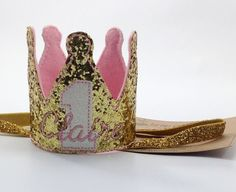Personalized Birthday Crown Glitter Crown Gold & Pink Headband First Birthday Headband OTT Headband Photo Prop Headband 1st Birthday