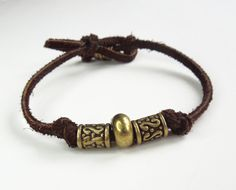 Men's suede leather bracelet with brass color beads by indiecreativ, $20.00