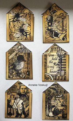 ANNEKESCARDART Journey, Artist Trading Cards, Atc, Mixed Media, Decorative Boxes, Birds, Vintage Houses, Holiday Decor, Artwork