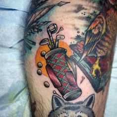 Hit the green and take a swing at these 40 golf tattoos for men. Discover cool golfer inspired tattoo designs with everything from the course to the tee. Golf Tattoo, Club Tattoo, Tattoos For Guys, Tattoos For Women, Woman Tattoos, Old School Tattoo Designs, Golfer, Womens Golf Shoes, Play Golf