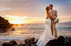 Katie May Backless Wedding Gown: Poipu Gown. Photo taken at the gorgeous Four Seasons in Maui. Beautiful sunset/beach wedding. Enjoy! www.katiemay.com
