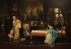 """Mihály Munkácsy, """"The Two Families,"""" 1880, oil on canvas"""