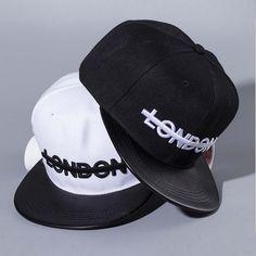New Arrival Modern Embroidery Baseball Cap Letter London Adjustable Hip Hop Hats  Flat PU Brim Hat 18ce99c76b1c